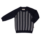New Feathered Line Jumper - Navy / Ecru Jujo Baby