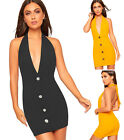 Womens Halter Neck Open Back Front Button Mini Stretch Party Dress Ladies New