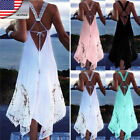 HOT Summer Lady Sexy Backless Sleeveless Maxi Casual  Irregular Dress