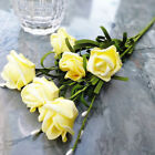 6 Head Artificial Fake Rose Foam Flower Wedding Party Bridal Bouquet Home Decor