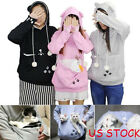 US Womens Kangaroo Dog Cat Holder Carrier Coat Pouch Large Pocket Hoodie Tops