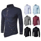 US Mens Fashion Shirt Long SleeveTuxedo Shirt Oblique Irregular Button Tops GIFT