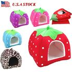 Pet Strawberry Dog Bed Warm Dog House Soft Dog Nest Basket Kennel For Cat Puppy