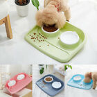 Pet Dog Cat Puppy Double Bowl Feeder Food Water 2 Dish Splash Proof 43*35*8cm