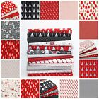 Modern Red & Grey Christmas100% COTTON FABRIC Stag Dot Spot Gold Metallic