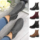 Womens Ladies Flat Low Heel Studded Pull On Chelsea Biker Work Ankle Boots Size