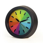 Novelty Simple Fashion Rainbow Round Silent Sweep Analog Alarm Clock for Home