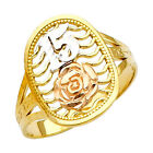 14K Tri-Tone Gold Sweet Quinceañera 15-Años Ring with Rose Flower Design