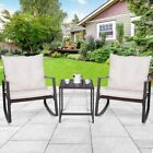 Set Of 3 Garden Rattan Wicker Furniture Set Table Rocking Chairs With Cushion Us