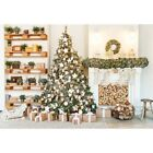 Xmas Home Fireplace Wooden Socks Props Backdrop Background Scenic Christmas Gift