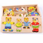 Wooden Puzzle Set Baby Educational Toys Bear Changing Clothes Puzzles Kids Gifts