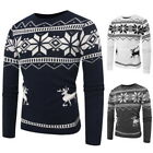 Fashion Mens Crew Neck Elk Print Cardigans Christmas Slim Fit Knit Pullover Tops