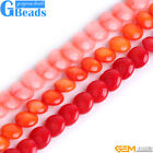 """6mm Coin Gemstone Coral Stone Beads For Jewelry Making 15"""" Strand Free Shipping"""