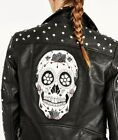 ZARA Rock&Roll STUD SUGAR CANDY EMBROIDERED SKULL FAUX PU LEATHER BIKER JACKET S