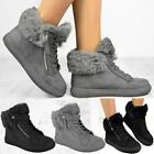Womens Hi Top Trainers Flat Ankle Boot Sneakers Casual Skater Faux Fur Winter