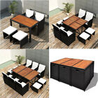 Rattan Garden Furniture Dining Set 5/9/11 Pieces Indoor Outdoor Patio Set Black