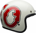 Bell Adult White/Red Custom 500 RSD WFO Motorcycle Retro Open Face Helmet ECE