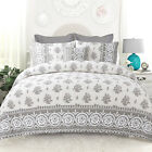 Prewashed Soft Classic 100% Cotton Grey Floral 3 pcs King Queen Quilt Coverlet  image