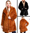Womens Faux Fur Coat Black Brown Long Jacket Size 10 12 14 16