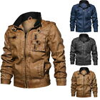 Men's Casual PU Leather Biker Jackets Warm Zip Up Stand Collar Motorcycle Jacket