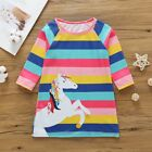 Lively Baby Girl Infant Kid Cute Horse Animal Cartoon Print Striped Casual Dress