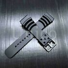 20 22 24 MM Black Silicone Rubber Watch Band Strap Fits Seiko Diver Water Black  image