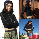 US Women's Long Sleeve Sweatshirt Jumper Sweater Crop Top Pullover Casual Blouse