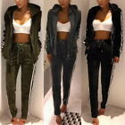 Sports Womens Warm 2PCs Striped Velvet Full Tracksuit Casual Zipper Coat+Trouser
