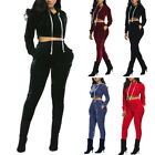 Womens 2PCs Suit Long Sleeve Full Tracksuit Slim Fit Hoodies+Trousers Sport Wear