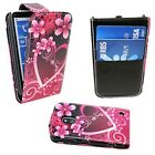 CASE FOR NOKIA LUMIA 620 FLIP PU LEATHER PINK HEART AND FLOWER DESIGN COVER