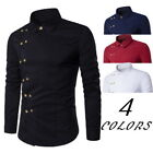 Men's Casual Shirts European Double Breasted Long Sleeve Dress T-Shirts GIFT