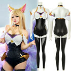 LOL League of Legends KDA Ahri Outfit Leather Bodysuit Suit Set Cosplay Costume