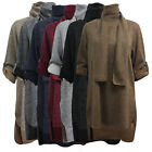 New Womens Marl Knit Italian Crew Neck Turn up Sleeve High Low Ladies Top Scarf