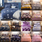 Soft Warm Flannel Fleece Bedding Set 4pc Duvet Quilt Cover Flat Sheet Pillowcase image