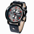 CURREN Men Wrist Watch Leather Band Strap Analog Top Deco Small Dial Pilot image