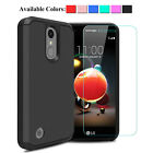For LG Phoenix 4/ Rebel 4 Shockproof Rugged Case+Tempered Glass Screen Protector