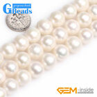 Natural Grade AAA Freshwater White Pearl Near Round Beads Free Shipping 15""