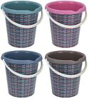 Large Plastic Bucket with Rattan Print Print 12Litre Bucket Garden Water Can