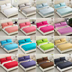Solid Color Flat Fitted Sheet Bed Cover Coverlet Single Double Full Queen 5 Size image