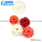 12mm Colorful Coral Ball Gemstone Beads For Jewelry Making Free Shipping 2 Pcs