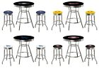 MLB TEAM LOGO BAR TABLE SET BLACK TABLE AND RETRO SWIVEL SEAT STOOLS WITH LOGOS