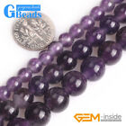 "Natural Gemstone Purple Amethyst Round Beads For Jewelry Making 15"" 1.5-2mm Hole"