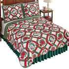 Poinsettia Patch Christmas Reversible Quilt, by Collections Etc image