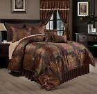 Deluxe Silky Brown Gold Jacquard Floral 9 pc Cal King Queen Comforter or Curtain image