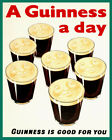 Glass of Guinness a Day Good for You Irish Ireland Beer Vintage Poster FREE S/H
