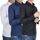 US Mens Casual Shirt Long Sleeve Slim Fit Solid Shirts Cotton Dress Shirts Tops