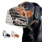 Large Dog Muzzle Leather Metal Wire Basket Adjustable for Pitbull German Shepard