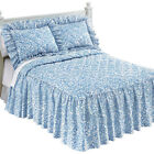 Floral Scroll Quilted Bedspread With Ruffled Skirt, by Collections Etc image