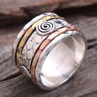 Three Tone wide Band Spinner 925 Sterling Silver solid Ring Jewelry all Size