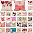 Happy Valentine's Day Cotton Throw Pillow Case Square Sofa Waist Cushion Cover  image